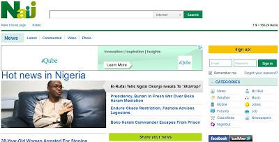 screenshot of Naij Website