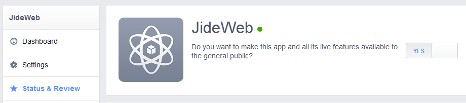 facebook application status