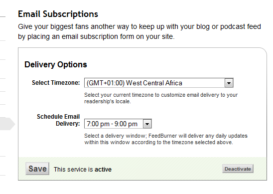 feedburner email delivery time