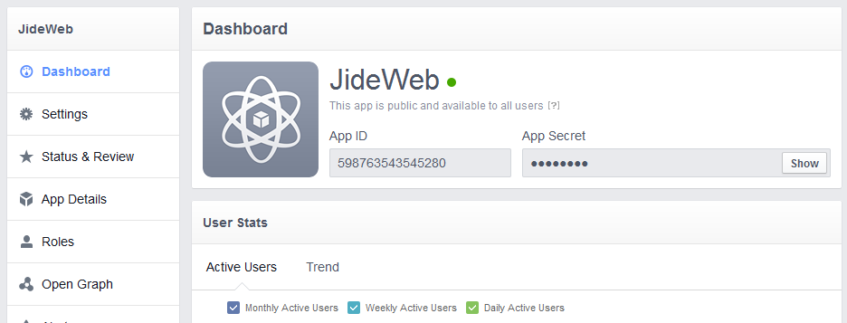 facebook application dashboard