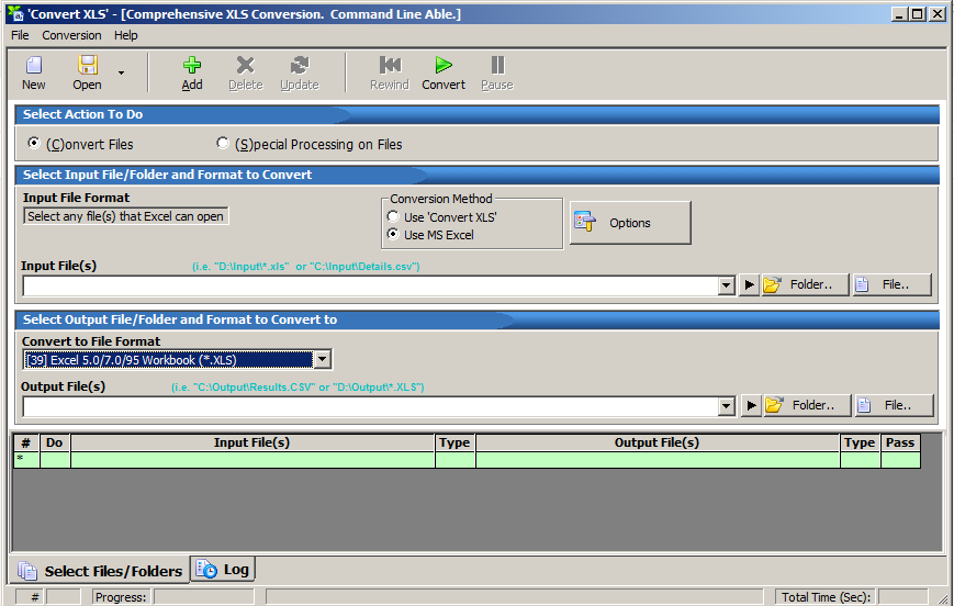 interface of convert xls software