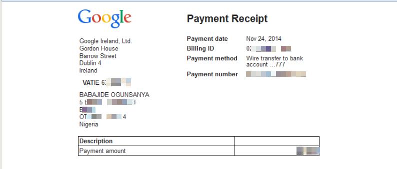 Adsense payment receipt