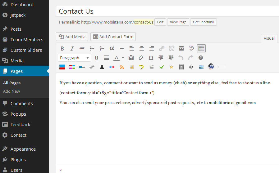 how to add contact form shortcode in wordpress