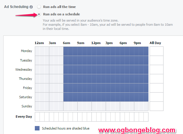 how to set facebook ad schedult