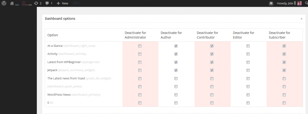wordpress plugin settings