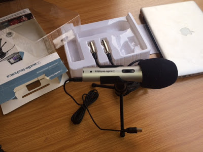 studio recording microphone with macbook pro