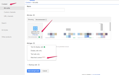 create adsense unit for matched content
