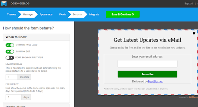 create a pop up subscription form for email marketing