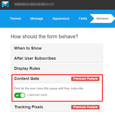 mailmunch content gate feature