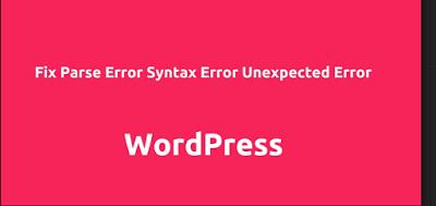 web design wordpress parse syntax error