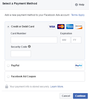 add payment method for facebook advertisement
