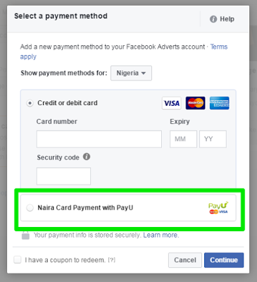 pay for facebook ad in nigeria with payu payment method