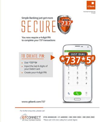 gtbank 737 money transfer service security pin ussd code