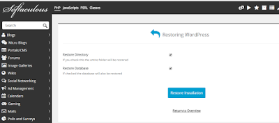 restore wordpress installation with softaculous in cpanel