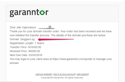 transfer .ng domain from domainking to garanntor.ng