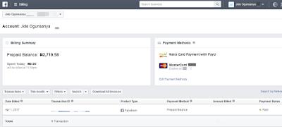 naira facebook ad account prepaid balance