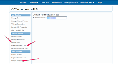 get domain name authorization code 007names