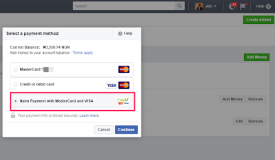 Facebook Naira card payment method