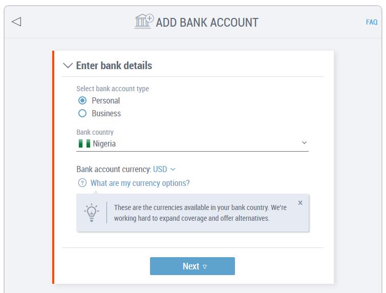 add nigerian bank account to payoneer