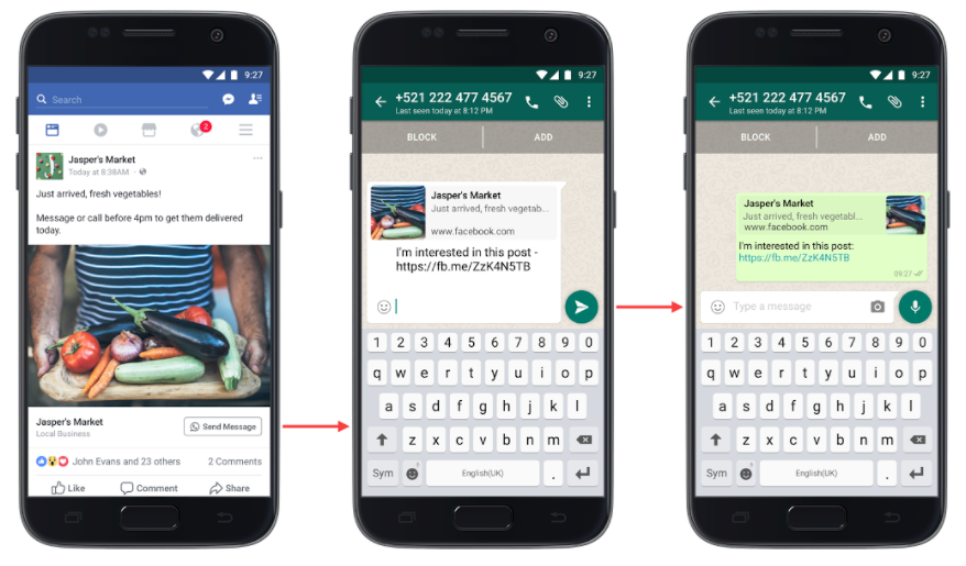 facebook boosted post with whatsapp call to action button