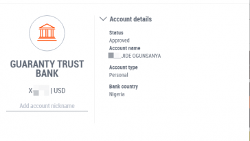 gtbank account linked to payoneer account
