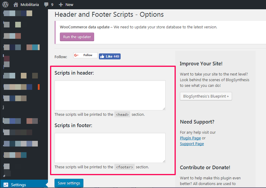 add header codes to wordpress websites