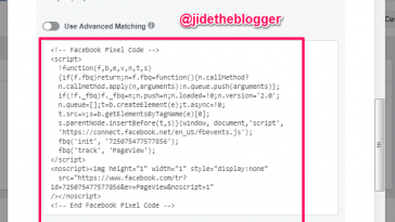 facebook pixel code example for online advertising