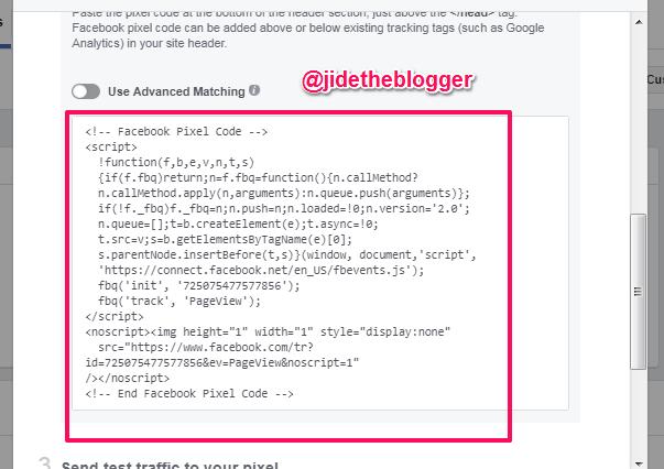 facebook pixel code example for online advertising