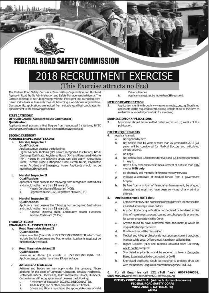 FRSC Recruitment 2018 : Login Portal, Requirements and How To Apply