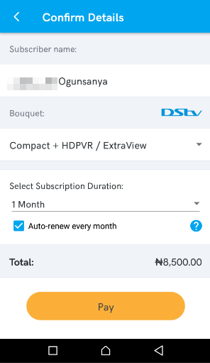 kongapay dstv bills payment auto renew in nigeria
