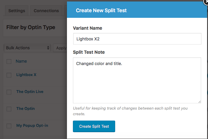 mailoption wordpress plugin split test