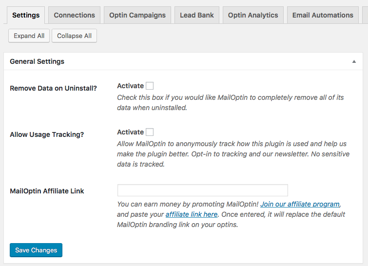 mailoptin wordpress plugin dashboard