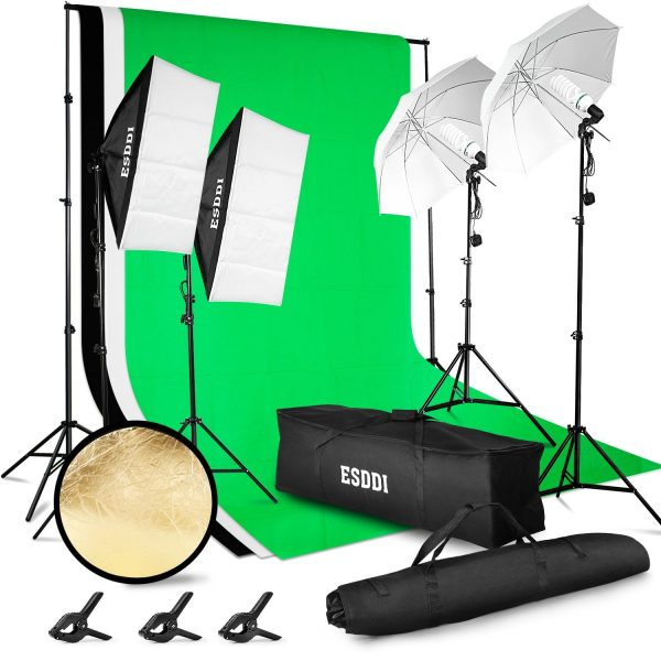 Lighting Kit Adjustable Max Size 2.6Mx3M Background Support System 3 Color Backdrop Fabric Photo Studio Softbox Sets Continuous Umbrella Light Stand with Portable Bag