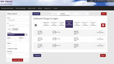 air peace flight time table nigeria