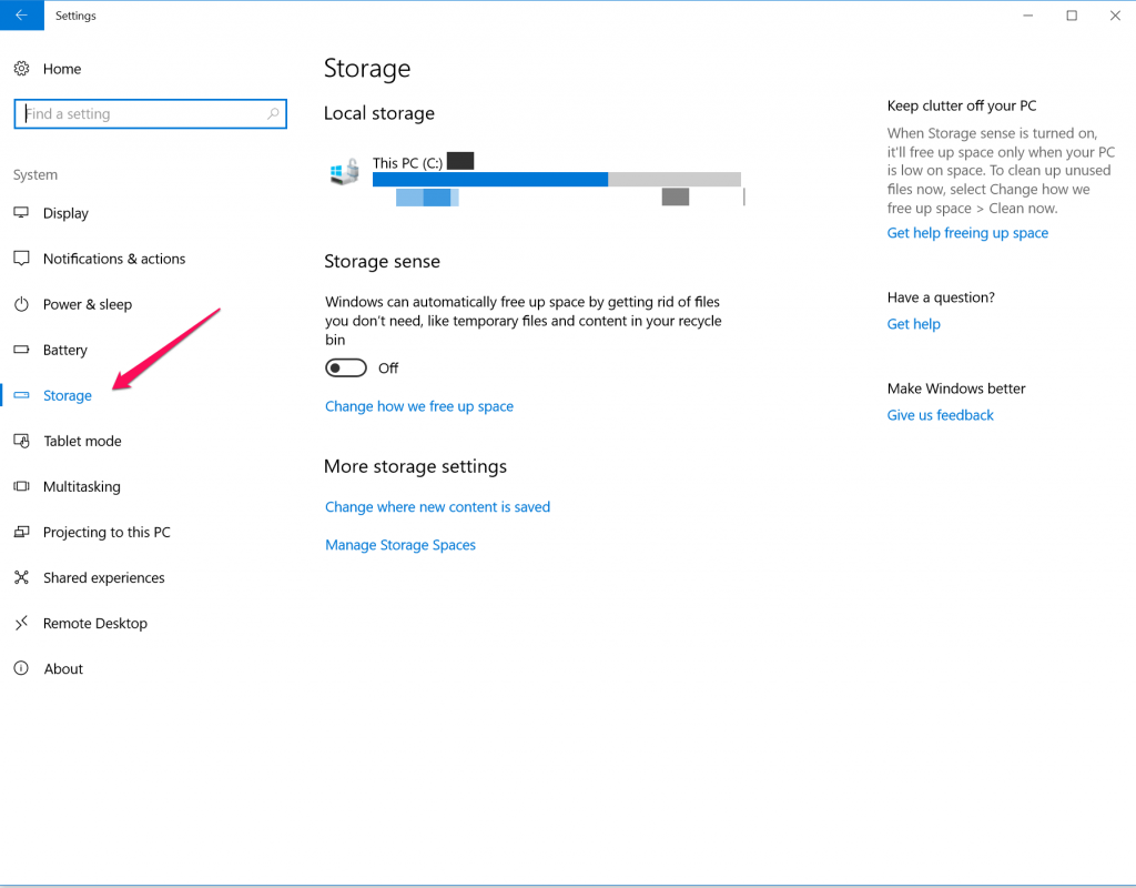 windows 10 storage settings