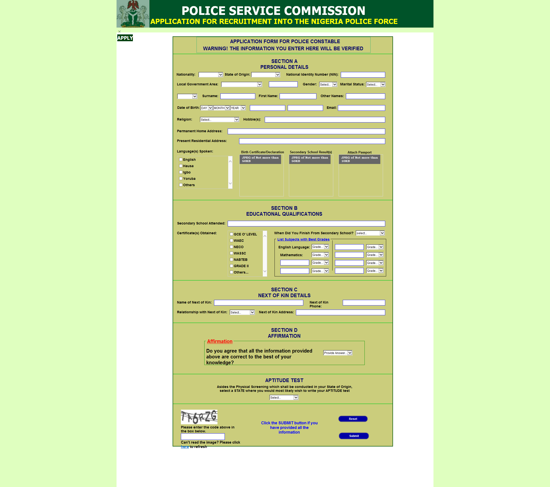 Nigeria Police Recruitment Portal 2018