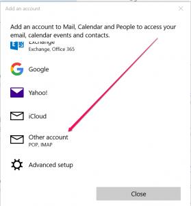 add account windows 10 mail app