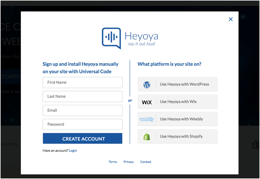 heyoya create account