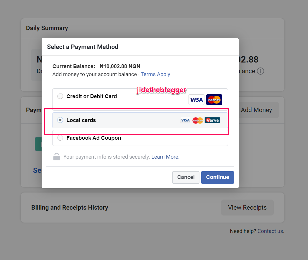 local cards payment method for facebook ads
