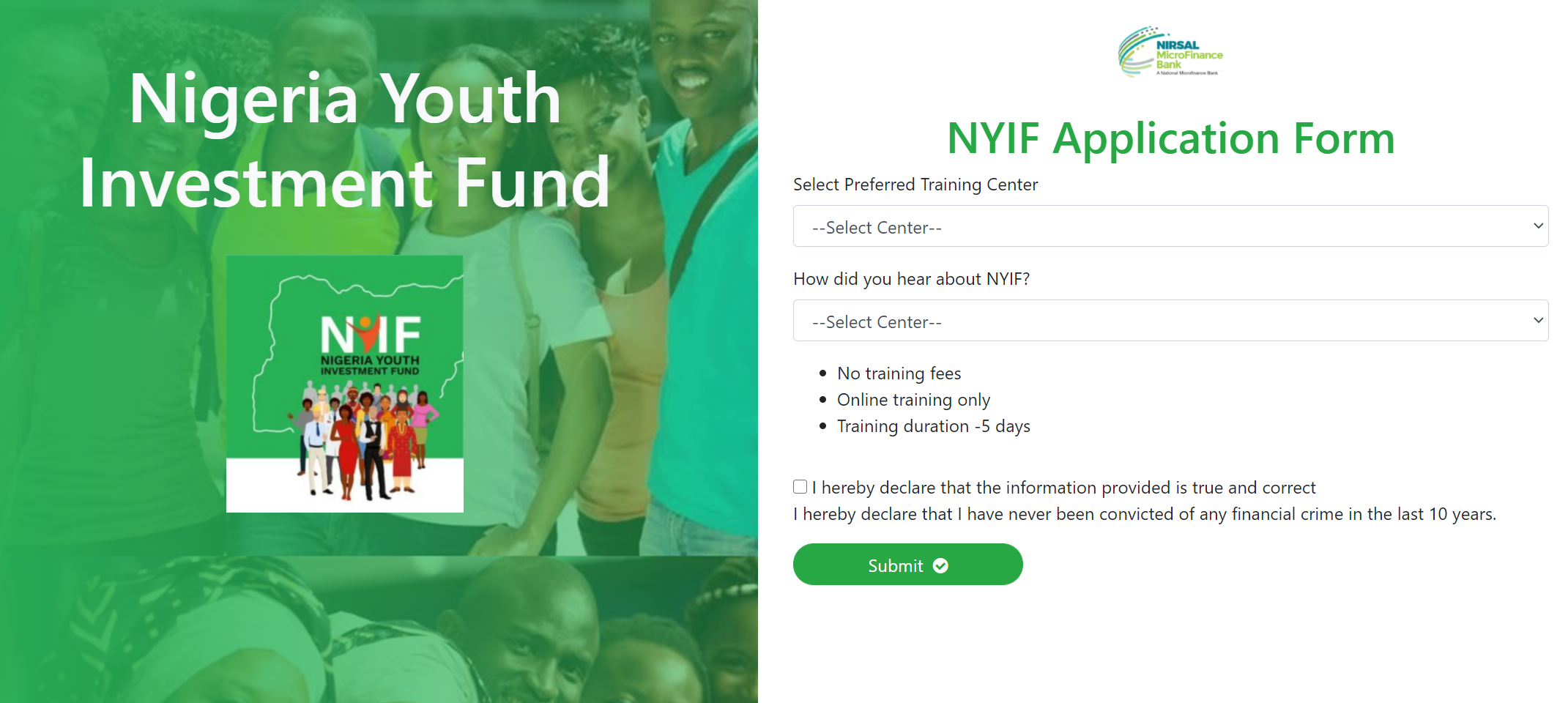 nigeria youth investment fund application form submit last page